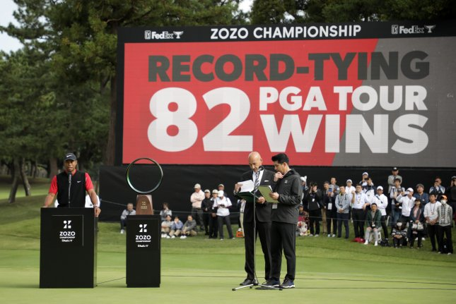 Tiger Woods (L) fired a final round of 67 to win the 2019 Zozo Championship Monday in Chiba, Japan, claiming his 82nd career PGA Tour victory. Photo by Jiji/EPA-EFE