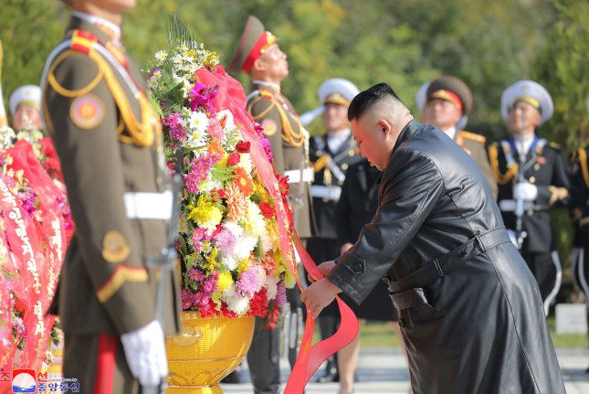 North Korean leader Kim Jong Un attends a ceremony in front of the monument to the martyrs of the Chinese People's Volunteer Army in Hoechang County South Pyongan Province in North Korea