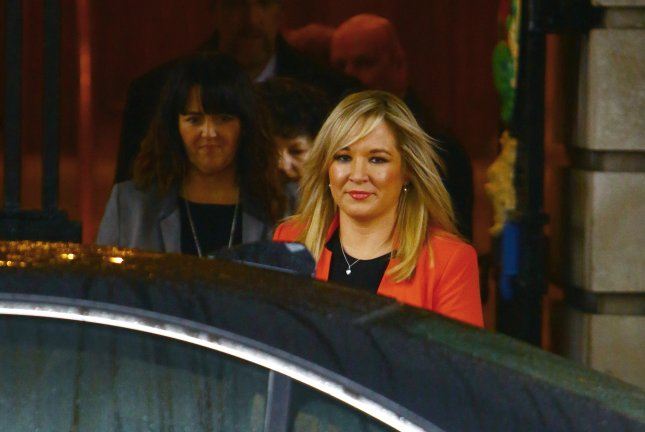 Ireland's Sinn Fein party, led by Michelle O'Neill, seen here January 2016, gained significant ground over the country's Democratic Unionist Party in the Northern Ireland Assembly election. Following the election the Sinn Fein party held 27 seats, just one less than the DUP's 28. Photo by Geoff Caddick/EPA
