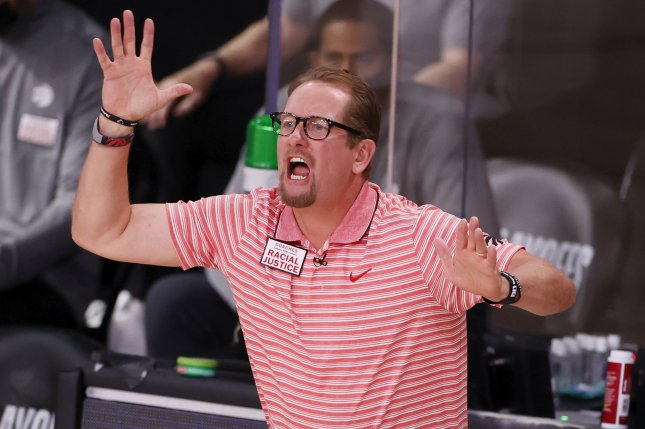 Toronto Raptors head coach Nick Nurse threw his mask in frustration at the end of the Raptors' 115-112 loss to the Utah Jazz on Friday. File Photo by Erik S. Lesser/EPA-EFE