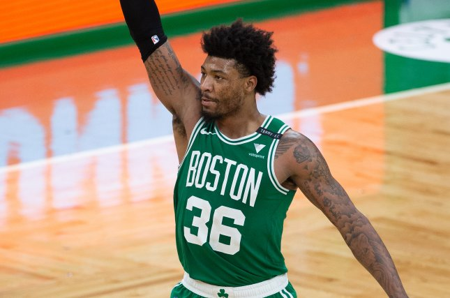 Boston Celtics guard Marcus Smart, shown April 7, 2021, has played his entire seven-year NBA career in Boston, which selected him in the first round of the 2014 draft. File Photo by CJ Gunther/EPA-EFE