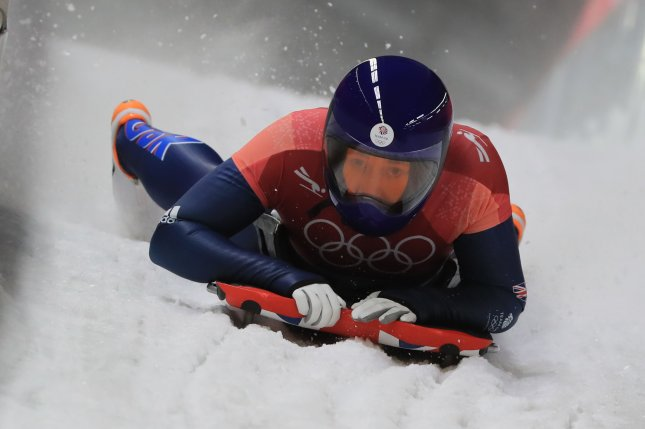 Britain skeleton slider Lizzy Yarnold competes in the first heat of women's skeleton Friday at the Pyeongchang Winter Olympics at Olympic Sliding Centre in Pyeongchang, east of Seoul. Photo courtesy of Yonhap News Agency