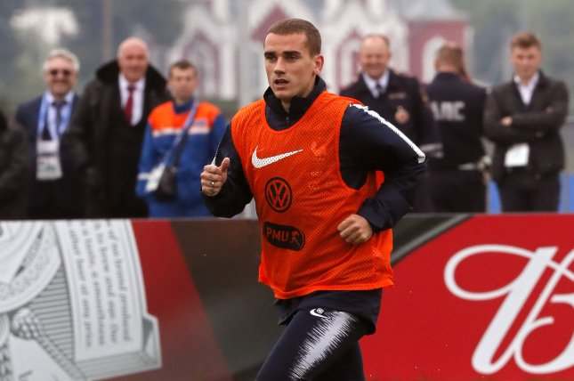 French player Antoine Griezmann attends a training session of France's national soccer team Tuesday at Glebobets Stadium, Istra region outside Moscow. Photo by Yuri Kochetkov/EPA-EFE