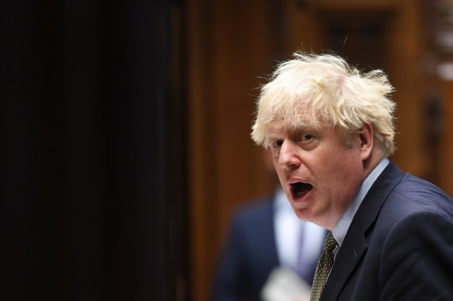 Britain's Prime Minister Boris Johnson speaking at House of Commons on October 14. Johnson said he is increasing military spending over the next four years. Photo by Jessica Taylor/EPA-EFE/British Parliament