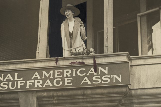 Congresswoman Jeannette Rankin, of Montana, speaking from the balcony of the National American Woman Suffrage Association in Washington, D.C. on Monday, April 2, 1917. Photo courtesy Library of Congress