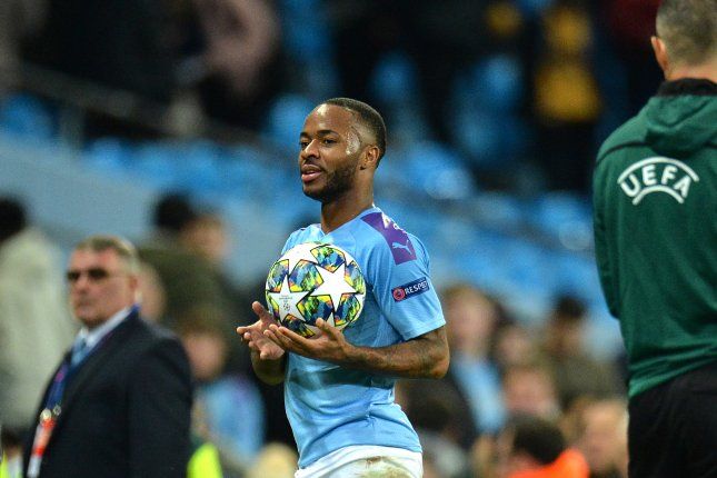 Raheem Sterling scored three goals in the second half of Manchester City's Champions League win against Atalanta Tuesday in Manchester, England. Photo by Peter Powell/EPA-EFE
