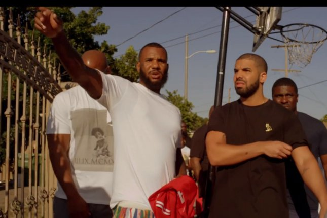 At a Sept. 26 show in Washington, D.C., Drake said Meek Mill is dead already in regards to him ending the feud between him and fellow rapper Meek Mill. Shown in this photo are fellow rappers The Game and Drake in a music video for The Game's single 100. The video was released Friday, July 31. File Photo by Reel Culture Media Group/UPI.