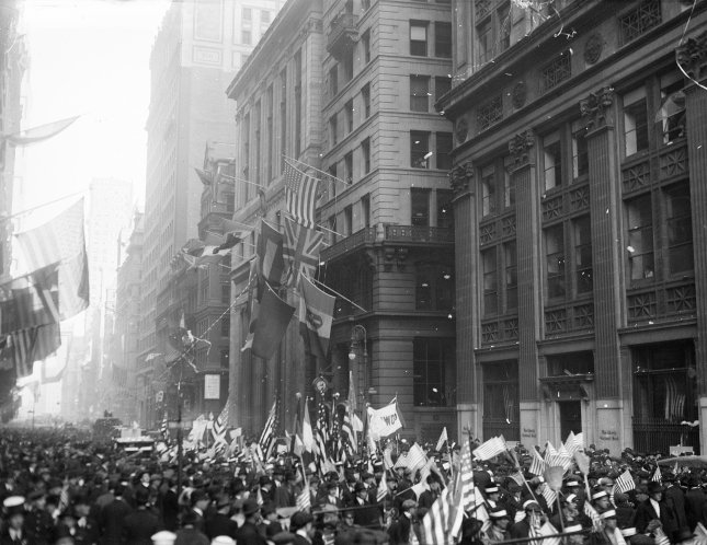 Crowds of people fill the streets of New York City after the Armistice of November 11, 1918 which ended World War I in western Europe. File Photo by Library of Congress/UPI
