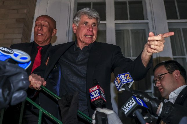 Former Illinois Gov. Rod Blagojevich speaks to reporters Tuesday night at his home in Chicago, Ill., following his release ordered by President Donald Trump. Photo by Tannen Maury/EPA-EFE