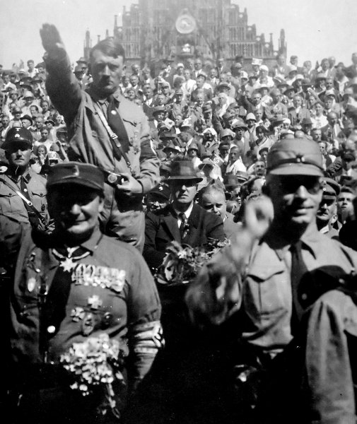 Adolf Hitler attending a Nazi party rally in Nuremberg, Germany, circa 1928. File Photo by NARA/UPI