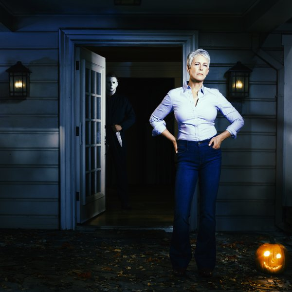 Jamie Lee Curtis in an image from Halloween. The movie is No. 1 at the North American box office. Photo courtesy of Universal Pictures