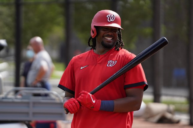 Washington Nationals first baseman Josh Bell, who joined the team in an off-season trade, hit his first home run of spring training Wednesday in West Palm Beach, Fla. Photo courtesy of the Washington Nationals