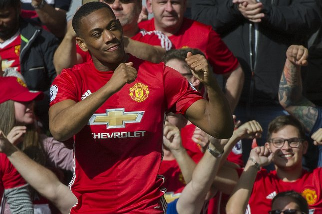 Anthony Martial's groin injury will keep him from playing against Chelsea and Liverpool and perhaps a second leg Champions League matchup against Paris Saint-Germain. Photo by Peter Powell/EPA