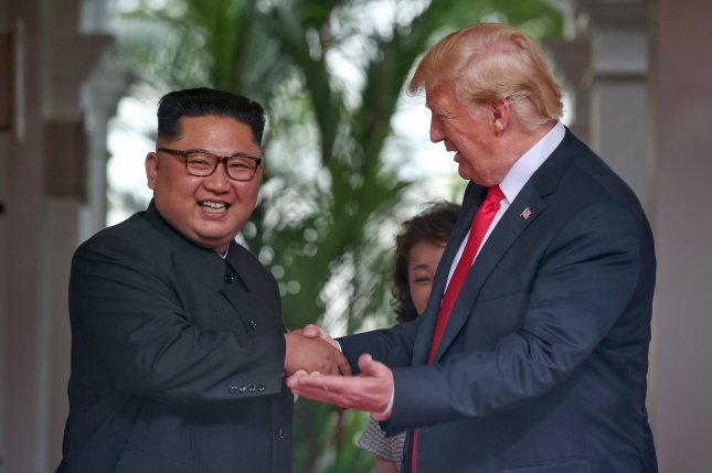 Kim Jong Un's summit last summer in Singapore with U.S. President Donald Trump enhanced Kim's prestige immensely. File Photo by Kevin Lim/The Straits Times/EPA-EFE