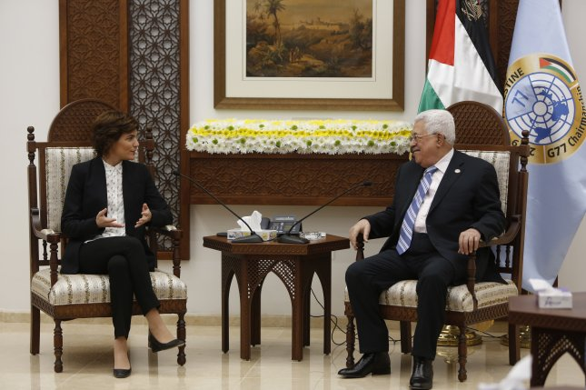 Palestinian President Mahmoud Abbas meets with leader of the Israeli left-wing party Meretz, Tamar Zandberg at the president's office in the West Bank. Photo by Majdi Mohammed/EPA-EFE