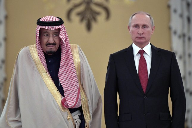 Russian President Vladimir Putin (R) and Saudi King Salman bin Abdulaziz al-Saud (L) meet in the Kremlin in Moscow on Friday. King Salman is on a three-day visit for talks that are expected to focus on the Syrian crisis and energy. Photo by Alexei Nikolsky/EPA-EFE//Sputnik/Kremlin