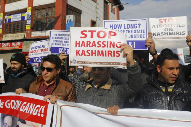 Members of the Kashmir Chamber Of Commerce and Industry protest Friday in Srinagar, the summer capital of Kasmir. Photo by Farooq/Khan/EPA-EFE