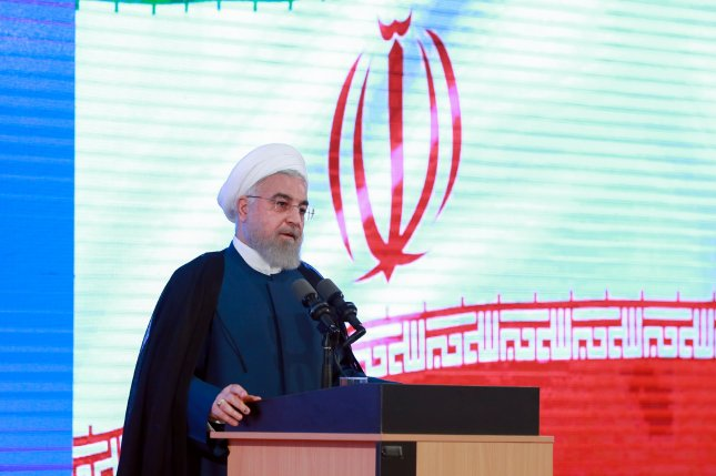 Iranian President Hassan Rouhani, shown speaking during a ceremony in Tehran last week, said he will only talk with the United States if sanctions are lifted. Photo by Iranian Presidential Office/EPA-EFE