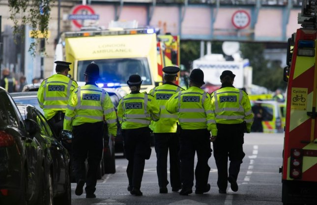 Police in London arrested an 18-year-old man in connection with an explosion on a subway car at Parsons Green subway station under section 41 of the Terrorism Act on Satrday. Photo by Will Oliver/EPA