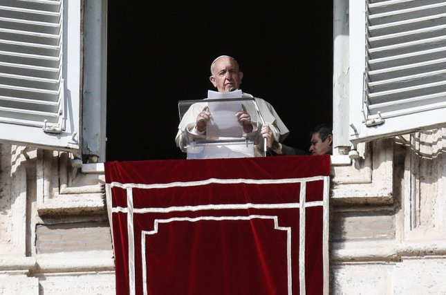 Pope Francis presides over the Angelus Prayer in St. Peter's Square, Vatican City, on November 10. Wednesday, the Vatican said the pope has accepted the resignation of Buffalo, N.Y., Bishop Richard Malone. Photo by Giuseppe Lami/EPA-EFE