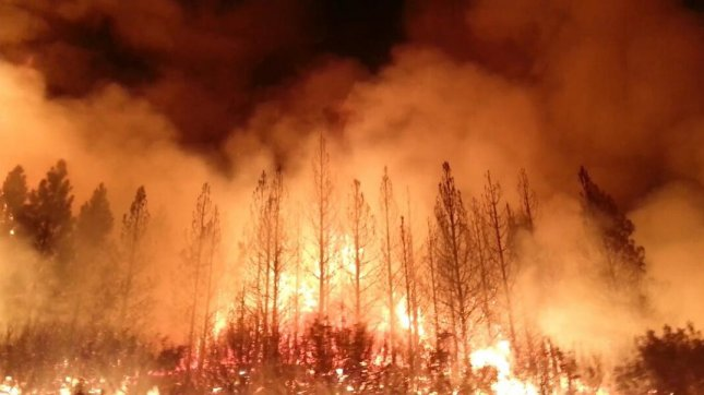 Started on August 17, 2013, the fast-moving Rim fire has already charred more than 100,000 acres in central California, near Yosemite National Park.. Hundreds of people were forced to evacuate their homes, and roads in the area were closed. (UPI/NASA Visible Earth)