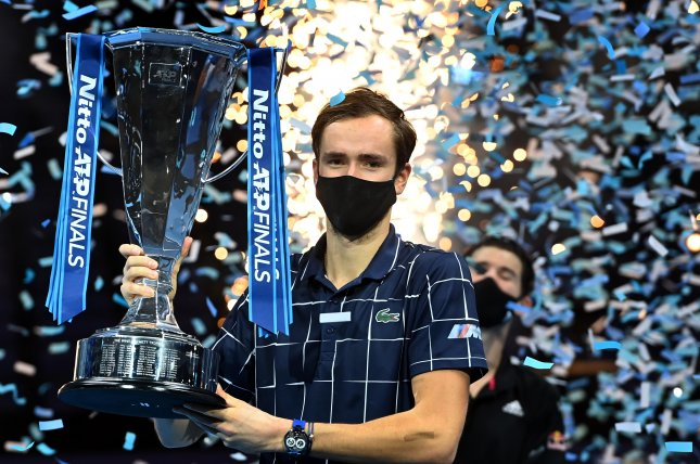 Daniil Medvedev beat Dominic Thiem in thein the two-hour and 42-minute final on Sunday in London, Britain.Photo by Andy Rain/EPA-EFE