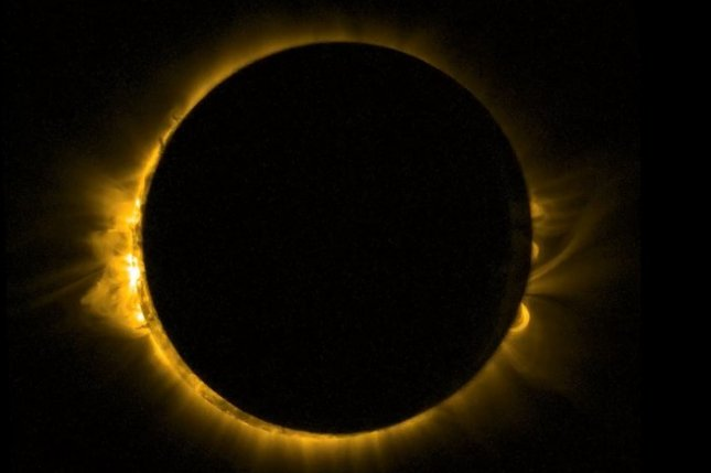 A partial solar eclipse is viewed from Europe on March 20, 2015, via the European Space Agency's sun-watching Proba-2 satellite. File Photo courtesy European Space Agency