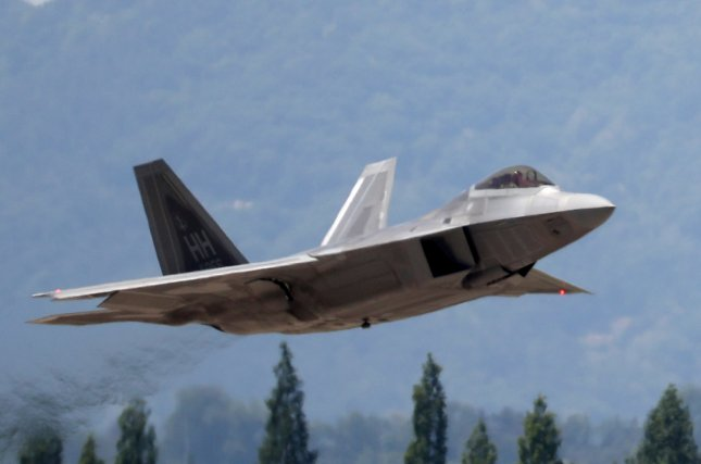 A US F-22 Raptor stealth fighter jet takes off from an air base in Gwangju, 329 kilometers south of Seoul on May 11, 2018, as South Korea and the United States began the Max Thunder joint combat exercise that will run for two weeks starting the same day. Photo courtesy of EPA-EFE/YONHAP