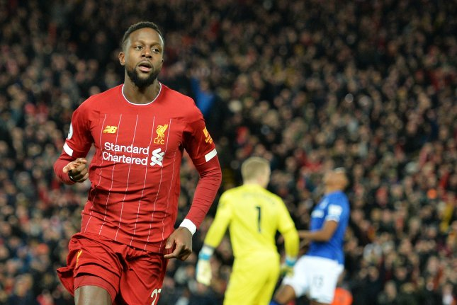 Divock Origi (L) scored in the 6th and 31st minute of Liverpool's win against Everton Wednesday in Liverpool, England. Photo by Peter Powell/EPA-EFE/Peter Powell