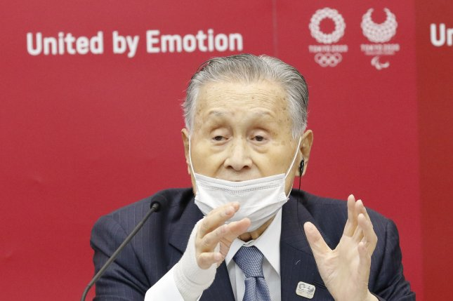 Tokyo Olympic President Yoshiro Mori is pictured during a news conference at Harumi Island Triton Square Tower in Tokyo, Japan, on November 18, 2020. File Photo by Rodrigo Reyes Marin/EPA-EFE