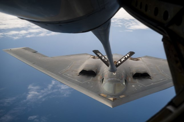 A U.S. Air Force B-2 Spirit conducts aerial refueling operations during a Bomber Task Force mission over the Atlantic Ocean on Sept. 6. Photo by Staff Sgt. Rachel Maxwell/U.S. Air Force