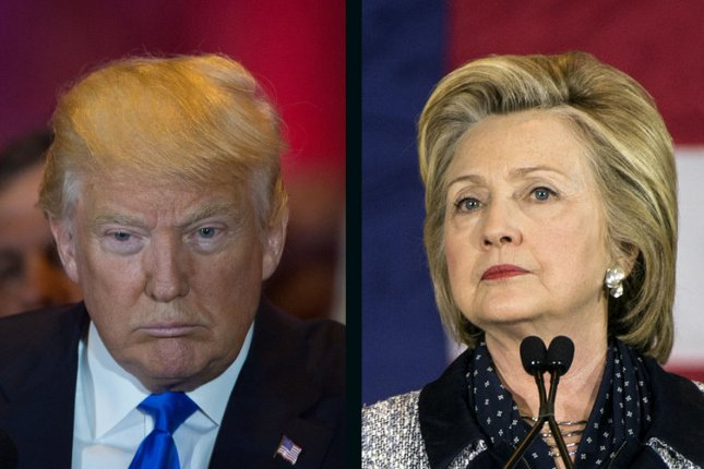 Donald Trump leads Hillary Clinton the UPI/CVoter daily online presidential tracking poll. UPI file photos