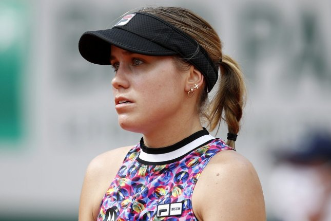 Madison Brengle beat fellow American Sofia Kenin (pictured) in straight sets in the second round of Wimbledon 2021 on Wednesday in London. Photo by Yoan Valat/EPA-EFE