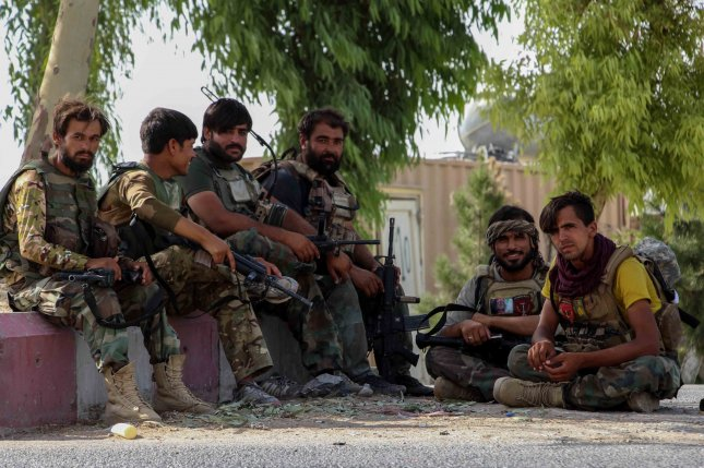 The United States announced Tuesday that its withdrawal from Afghanistan remains at 95%, but that heightened airstrikes against the Taliban to aid Afghan forces, some of whom are pictured, would continue for the time being. File Photo by M. Sadiq/EPA-EFE