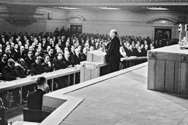 British Prime Minister Clement Attlee addresses the first session of the United Nations General Assembly on January 10, 1946, at Central Hall in London. File Photo courtesy United Nations