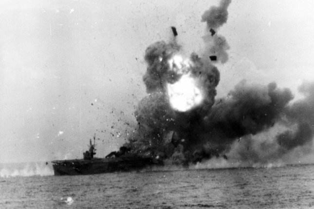 An explosion rocks the USS St. Louis after she was hit by a Kamikaze pilot off the coast of Samar Island, Philippines, on October 25, 1944. File Photo by US Navy/UPI