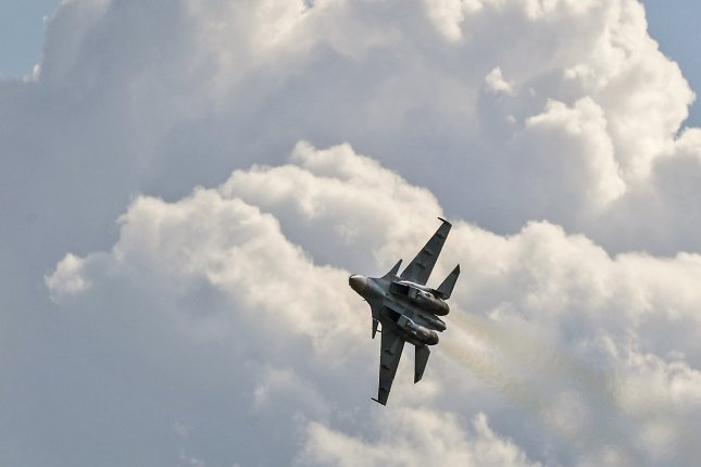 A Russian Sukhoi Su-30 SM military aircraft performs during an air show at the Moscow International Aviation and Space Salon outside Moscow, Russia, on July 20, 2017. Photo by Sergei Ilnitsky/EPA-EFE