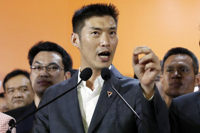 Thanathorn Juangroongruangkit, leader of Thai opposition Future Forward Party, speaks to the media and supporters Friday after the Thai Constitutional Court ruled to dissolve the party. Photo by Rungroj Yongrit/EPA-EFE