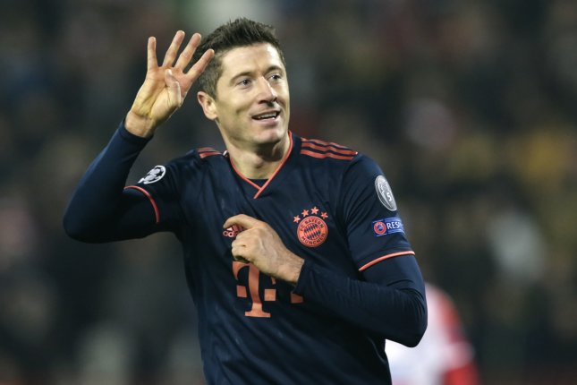 Bayern Munich star striker Robert Lewandowski scored in the 82nd minute to give his side a 6-2 lead over Barcelona. Bayern is 9-0 in Champions League play this season. File Photo by Andrej Cukic/EPA-EFE