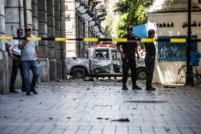 Two suicide bomb attacks near the French embassy and in the main street in the city of Tunis targeted police patrol cars. Photo by EPA-EFE