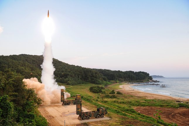South Korea is developing a new SLBM that will undergo underwater tests in March, according to a local press report. Seoul previously tested a Hyeonmoo-2 missile (pictured) in 2018. File Photo courtesy of South Korea Defense Ministry/EPA-EFE
