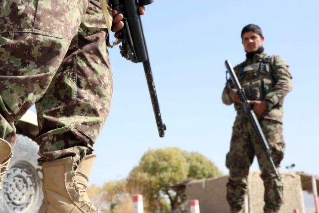 As the U.S. military pulls out of Afghanistan -- more than 95% of which is completed -- security of the country has been left to Afghan security officials, such as those pictured, amid a Taliban offensive across the country. File Photo by Muhammad Sadiq/EPA-EFE