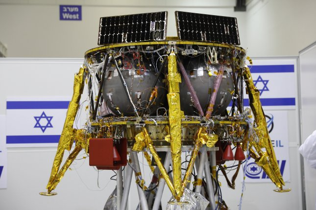This Israeli spacecraft will launch in February for an unmanned mission to land on the surface of the moon, SpaceIL announced Tuesday. If successful, it would be the first Israeli craft in history to make a lunar landing. Photo by Abir Sultan/EPA-EFE