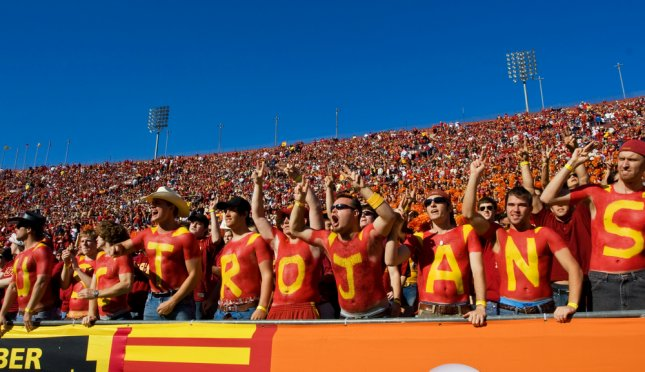 University of Southern California Trojan football fans celebrate after a touch down during the annual USC vs UCLA Football Game on November 1, 2007, in Los Angeles. Photo by EpicStockMedia/Shutterstock