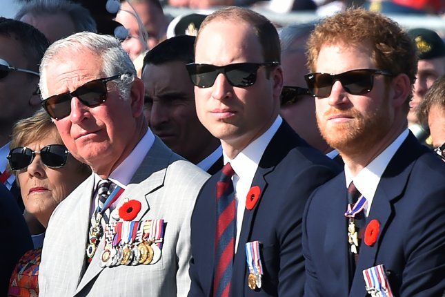 Prince William (C) and Prince Harry (R) with dad Prince Charles at a commemoration ceremony at the Canadian National Vimy Memorial in Vimy, France, on April 9. The brothers discussed losing mom Princess Diana with Kate Middleton in a new video. File Photo by Philippe Huguen/EPA