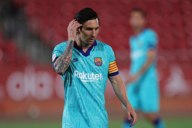 FC Barcelona's Lionel Messi had a goal and two assists in a win Saturday against Mallorca, his club's first game since March 7. Photo by Juanjo Martin/EPA-EFE