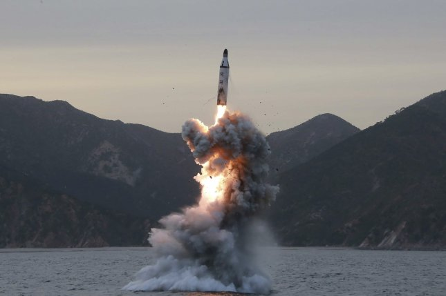 An undated photo released in April 2016 by North Korean Central News Agency shows an underwater test-fire of strategic submarine ballistic missile. File Photo by KCNA/EPA