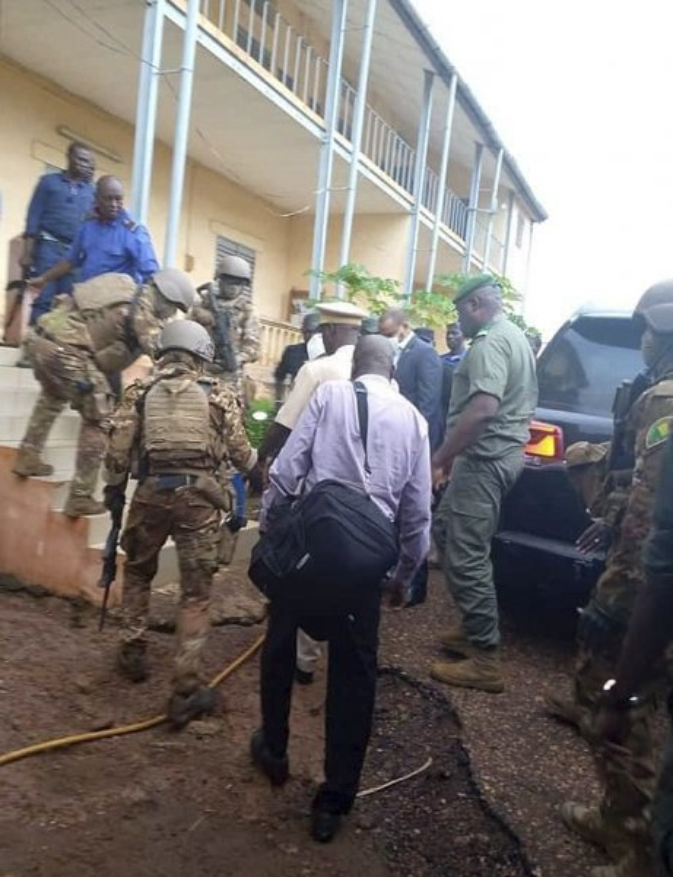 Malian troops lead Mali President Ibrahim Boubakar Keita into a military house after he was seized in Bamako, Mali, on Tuesday. Photo courtesy of Stringer/EPA-EFE