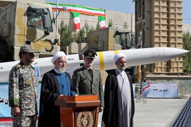Iranian President Hassan Rouhani introduces a new missile defense system Thursday in Tehran, Iran. Photo by Iranian Presidency Office/EPA-EFE