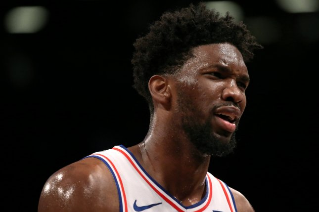 Philadelphia 76ers center Joel Embiid said his injured right knee hindered his ability to jump for a go-ahead layup attempt at the end of a Game 4 loss to the Atlanta Hawks on Monday in Atlanta. Photo by Peter Foley/EPA-EFE